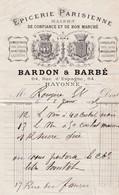 BAYONNE BARDON BARBE EPICERIE PARISIENNE SPIRITUEUX VINS SIROPS LIQUEURS ANNEE 1889 - Francia