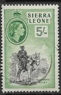 Sierre Leone  1956  Sc#205  5sh QE  Used   2016 Scott Value $4.50 - Sierra Leone (...-1960)