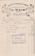 COMMERCY A WACK PATISSIER MACARON DE NANCY GLACES SORBETS AVEC CACHET ANNEE 1894 - France