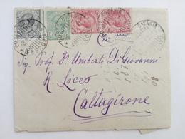 1922 - Lettera Con Multiaffrancatura Da Catania A Caltagirone (CT) - Storia Postale