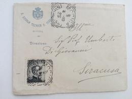 1910 - Lettera Dalla R.Scuola Tecnica P,Scrofagni Di Modica (RG) Con Argomento Grande Oriente D'Italia - Storia Postale