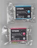 2 Cartouches Imprimantes Epson Neuves T0713 Magenta Et T0712 Cyan - Autres