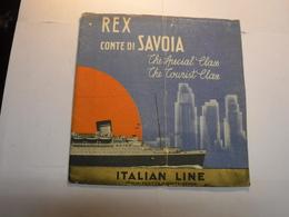 GENOVA  --- ITALIAN LINE  -- REX  CONTE DI SAVOIA  -- DEPLIANT  1934 - Italie