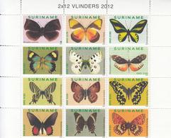 2012 Surinam Butterflies Papillons  Complete Block Of 12 MNH - Suriname