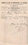 COMMERCY A CREHANGE J WEIL CHANTIER DE BOIS DE CONSTRUCTION DE CHARBON SUR LE PORT HOUILLE COKE ANNEE 1892 - France