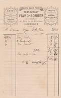 COMMERCY VIARD SONDER RESTAURANT MAREE POISSON HUITRES ESCARGOTS ECREVISSES ANNEE 1890 - Non Classés