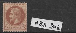 N 26 A **  Neuf  2c Rouge Brun  Côte 210€ - 1863-1870 Napoléon III. Laure