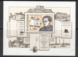 2012 Slovakia Linguist Bernolak Souvenir Sheet MNH  @ BELOW FACE VALUE  **Bottom Right Corner Wrinkle ** - Slovakia