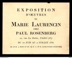 PEINTURE - EXPOSITION D'OEUVRES DE MARIE LAURENCIN CHEZ PAUL ROSENBERG, 21 RUE DE LA BOETIE PARIS 8E - 1932 - Vieux Papiers