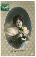CPA - Carte Postale - Fantaisie - Femme - Fleurs - Bonne Fête - 1910 ( I11486) - Femmes