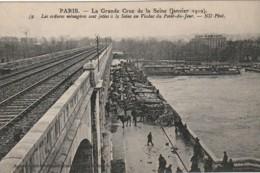 IN 28-(75)PARIS - CRUE DE LA SEINE - ORDURES  JETEES A LA SEINE AU VIADUC DU POINT DU JOUR - CARRIOLES A CHEVAL- 2 SCANS - Paris Flood, 1910