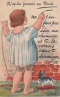 JA 2 - (75) CARTE A SYSTEME MULTIVUES DES MONUMENTS DE PARIS  - CARTE COLORISEE : ENFANT AVEC LAPIN A ROULETTES- 3 SCANS - Cartas Panorámicas