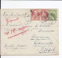N°74+ 5 C Armoirie + 10 CGr. Barbe (x2) Obl. FLEMALLE GRANDE. 25 Sept1907 Pr MATTO GROSSE (Brésil) - 1905 Breiter Bart
