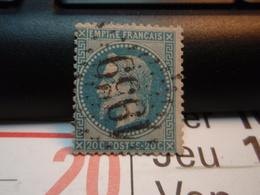 Timbre Empire Français 20 C. Napoléon III  Lauré. Oblitéré.  Numéroté : 1959 - 1863-1870 Napoléon III Lauré