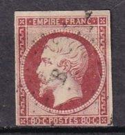 FRANCE - 80 C. Carmin De 1854 Oblitéré Losange B - 1853-1860 Napoléon III