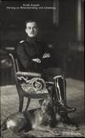Cp Duc Ernst August Von Braunschweig, Sitzportrait In Husarenuniform, Hund - Koninklijke Families