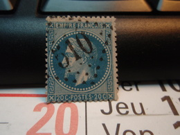 Timbre Empire Français 20 C. Napoléon III  Lauré. Oblitéré. Numéroté : 510 - 1863-1870 Napoléon III Lauré