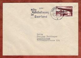 Brief, Brueckenbau Aufdruck, MS Volksbefragung Saarbruecken, 1955 (90417) - 1947-56 Allierte Besetzung