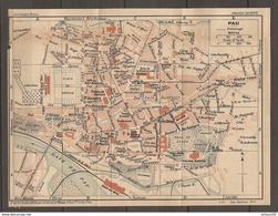 CARTE PLAN 1925 PAU PYRENEES (64) - GARE Du MIDI PALAIS D'HIVER VÉLODROME MARCHÉ Aux BÉTAILS - Topographische Karten