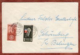 Brief, Weltmeisterschaft Querfeldein Radfahren U.a., Merzig Nach Schoemberg 1955 (90418) - 1947-56 Allierte Besetzung