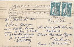 N° 208 X 2 Sur Carte Postale De 1913 Pour La France , 2 Scans - 1910 - ... Repubblica