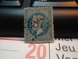 Timbre Empire Français 20 C. Napoléon III  Lauré. Oblitéré.  Numéroté :  2687 Plis. - 1863-1870 Napoléon III Lauré