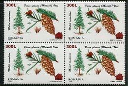 ROMANIA 2000 Surcharge 300 L. On Coniferous Trees 75 L. Block Of 4  MNH / **.  Michel 5523 - 1948-.... Republics