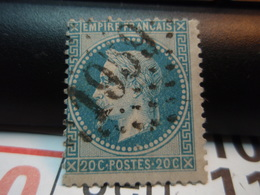 Timbre Empire Français 20 C. Napoléon III  Lauré. Oblitéré.  Numéroté : 1959 - 1863-1870 Napoleon III With Laurels