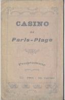 Le Touquet Paris-Plage (62) - Théâtre Du Casino De La Plage - Programme Saison 1910 - Programma's