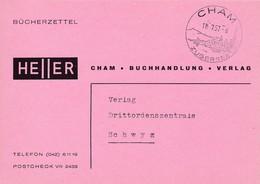 Bücherzettel: Heller - Buchhandlung - Verlag. Stempel: CHAM -Zugersee 11.7.1957 - Timbres D'automates
