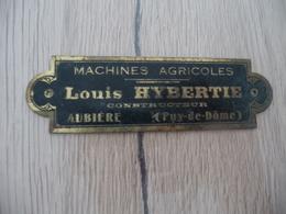 Plaque Pub Publicité  Laiton Originale Machines Agricoles Louis Hybertie Aubière Puy De Dôme 10.5 X 3 Cm - Landbouw