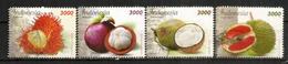 Fruits D'Indonésie: Rambutan,Durian,Mangoustan,Noix De Coco.  4 Timbres Oblitérés, 1 ère Qualité - Fruits