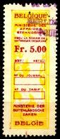 BELGIUM  Belgique - LION - Revenue Tax STAMP - USED - 5.00 - Ministere Des Affaires - CONSULAR - Steuermarken