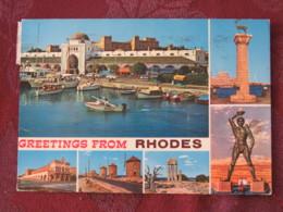 "Greece 1984 Postcard ""Rhodes Castle Deer Colossus"" To England - Achilles Ajax Dionysus - Grèce"