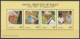 Namibia Südwestafrika SWA 1998 Geschichte History Persönlichkeiten Königshäuser Royal Prinzessin Diana, Bl. 38 ** - Namibia (1990- ...)