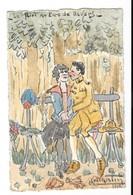 GUERRE 1914-18 Armée Américaine US ARMY Aquarelle Originale Flirt Au Parc De Nevers MARTIN 1918 - Guerre 1914-18