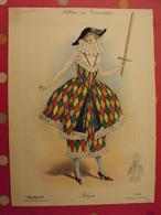"""Arlequin, Gravure En Couleurs Tirée De """"Album De Travestis"""". La Mode Nationale. Paris. Vers 1890. - Lithographies"""