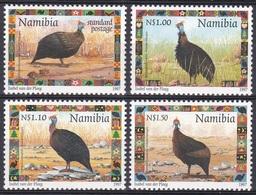 Namibia Südwestafrika SWA 1997 Tiere Fauna Animals Vögel Birds Oiseaux Aves Uccelli Perlhuhn Guineafowl, Mi. 871-4 ** - Namibia (1990- ...)