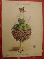"""Le Bouquet De Violettes, Gravure En Couleurs Tirée De """"Album De Travestis"""". La Mode Nationale. Paris. Vers 1890. - Lithographies"""