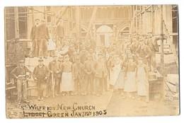 BRADFORD LIDGET GREEN St Wilfrid New Church Carte Photo Construction 1905 - Bradford