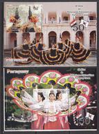 2012 Paraguay Culture Links With Korea Costumes Dancing Complete Set Of 3  Souvenir Sheets MNH - Paraguay
