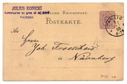 Firmen-Ganzsache Julius Konicki Danzig 1883 Nach Nürnberg - Allemagne