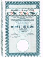 Titre Ancien - Brasseries Malteries Motte Cordonnier - Titre De 1968 - Industrie