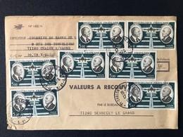 Lettre Enveloppe Valeur à Recouvrer Bureau Document Poste Timbre Poste Aérienne Blason Combinaison - Postdokumente