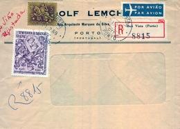 1969 , PORTUGAL , SOBRE CERTIFICADO , BOA VISTA ( OPORTO ) , CORREO AÉREO - 1910-... Republic