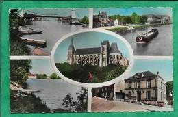 Saint-Leu-d'Esserent (60) église étang Mairie 2scans Barques Pont Suspendu Péniche - France
