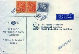 1961 , PORTUGAL , SOBRE CIRCULADO DEL SERVICIO METEOROLÓGICO NACIONAL , LISBOA - CHEVY CHASE - 1910-... Republic