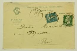 Lettre 7 Aout 1926 Hotel De Séville Constantine Vichy --> Paris, Affr. 50c (tarif Du 09.08.26) - Francia