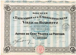 Titre Ancien - Société Pour L'Extension Et L'Embellissement De La Ville De Biarritz - Titre De 1928 - - Tourisme