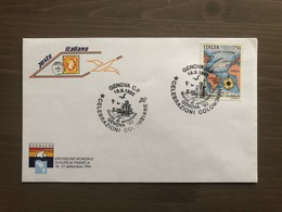 Busta Poste Italiane Primo Giorno Di Emissione Val. £. 750 Genova '92 Annullo Genova 18/09/1992 - Cristoforo Colombo
